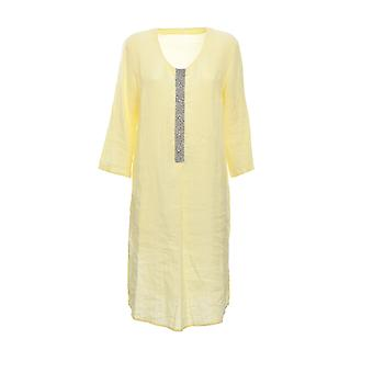 120% N0w4616000b317002n040 Women's Yellow Linen Dress