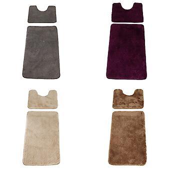 المجموعة حصيرة 2 قطعة العميق كومة كتلة اللون حمام حصيرة & الركيزة