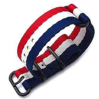 Strapcode n.a.t.o watch strap miltat 20mm, 22mm or 24mm 3 rings zulu  ballistic nylon armband - french flag , pvd black hardware