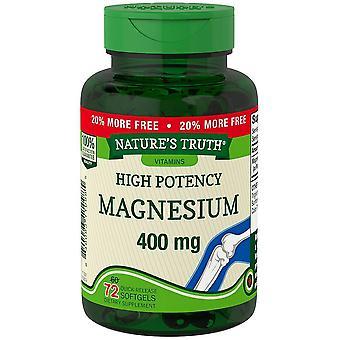 Nature's waarheid magnesium, 400 mg, quick release softgels, 72 ea