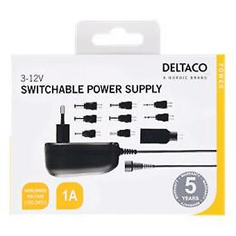 DELTACO AC-adapter 100-230V naar 3-12V DC, 1A, verwisselbare connectoren