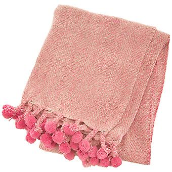 Sass & Belle Nevada Pink Herringbone Blanket Throw