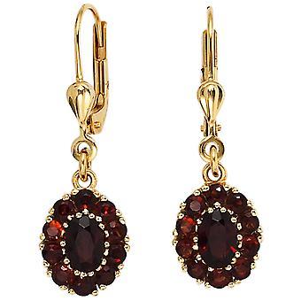 Boutons 375 gold yellow gold 22 grenade red earrings earrings Garnet Earrings