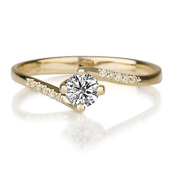0.55 CTW 5.00MM Moissanite Engagement Ring Forever One with Diamonds 14K Yellow Gold