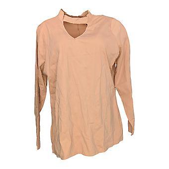 Du Jour Women's Plus Top Long Sleeve Banded Neck Knit Pink A300220