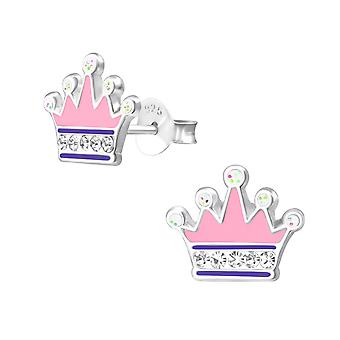 Crown - 925 Sterling Silver Crystal Ear Studs - W33688x