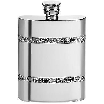 Orton West 4oz Celtic Bands Pewter Hip Flask - Silver