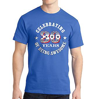 Celebrating 30 Years Of Being Awesome Graphic Men's Royal Blue T-shirt