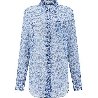 Acne Studios Ac0209bluewhite Damen's blaue Seide Shirt