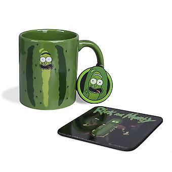 Rick i Morty Pickle Rick Kubek, Coaster & Keychain Gift Set