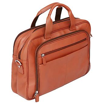 Felda RFID Colombian Genuine Leather Briefcase - Twin Handle Business Bag With Laptop & Tablet Pocket