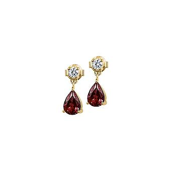 Jacques Lemans - Studs sterling silver plated with garnet - SE-O109H