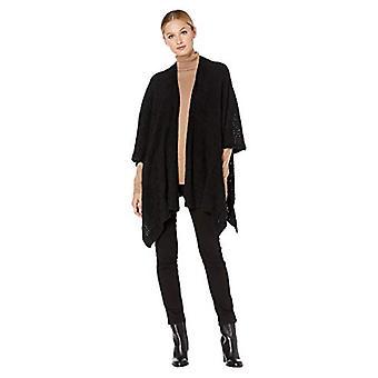 Vince Camuto Women's Pointelle Feather Yarn Kimono, Black,, Black, Size One Size