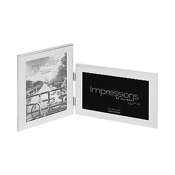 Widdop & Co. Stylish Satin Silver Aluminium Folding Double Photo Frame 4 X 6