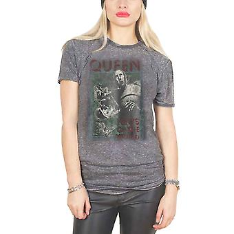 Queen T Shirt News of the World new Official Womens Skinny Fit Charcoal Burn Out