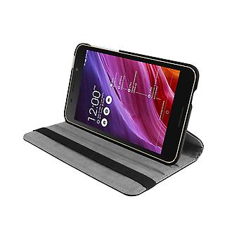 "PU Leather Case 360 Rotating Case for Asus FonePad FE375CG 7""[Black]"