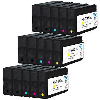 3 yhteensopivaa sarjaa, joissa 4 + extra musta HP 934 & 935 (HP 934XL & 935XL) -mustekasetti