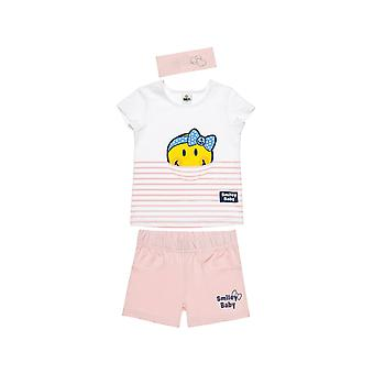 Alouette Girls' Smiley T-Shirt Set With Shorts And Ribbon