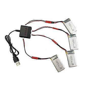 YUNIQUE ITALIA ® 4 Pezzi Batteria di ricambio + Caricatore da 3.7V 850mAh Li-Po per Quadricottero RC Drone Syma X56 X56W X54HW X54HC pieghevole
