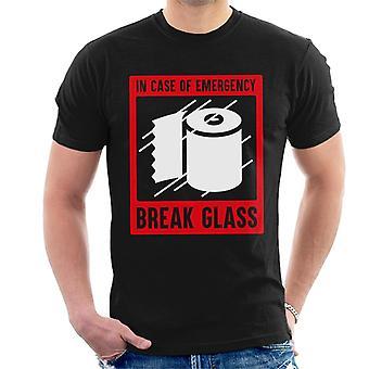 Em caso de vidro de quebra de emergência para loo roll men't-shirt