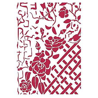 Stencil A4 Fence with Roses (KSG440)