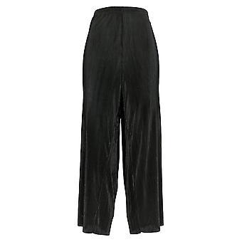 Joan Rivers Femmes-apos;s Petit Pantalon Solid Accordéon Pleat Palazzo Noir A351499