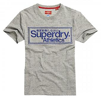 Superdry CL Ath Logo Embroidery T-Shirt Grey Marl RCF