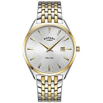 Rotary Men's Ultra Slim | Two-Tone Steel Bracelet | Silver Dial GB08011/02 Watch