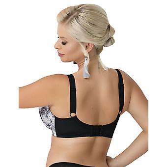 Nessa Women's Orina Black and White Animal Print Non-Padded Underwired Soft Bra