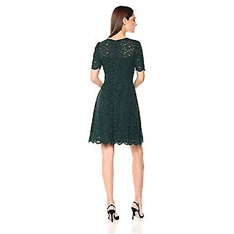 Brand - Lark & Ro Women's Half Sleeve Lace Crewneck Fit and Flare Dres...