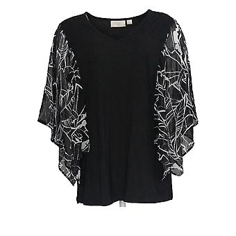 Belle by Kim Gravel Women's Top Tropical Print Woven Sleeves Black A375874
