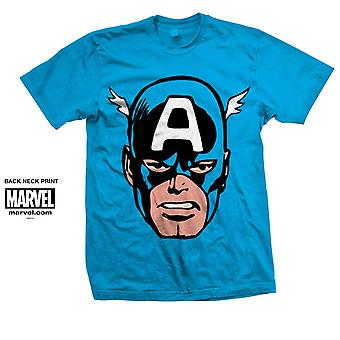 Blue Marvel Comics Captain America Big Head Officiel Tee T-Shirt Unisex