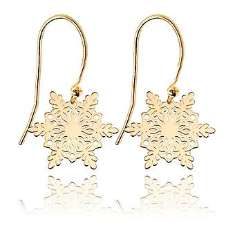 Ah! Jewellery Women's 24K Gold Vermeil Over Sterling Silver Snowflake Pendant Earrings, Easy To Use Fish Hooks, Stamped 925.