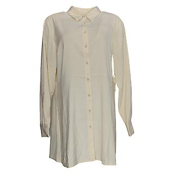Susan Graver Women's Top Stretch Peachskin Button Front Ivory A367778