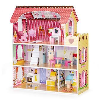 Hölzerne Puppenhaus rosa mit LED-Leuchten rosa 60x27x79 cm