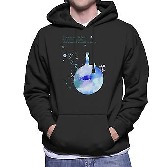 The Little Prince Blue Paint Effect Heart Quote Men's Hooded Sweatshirt