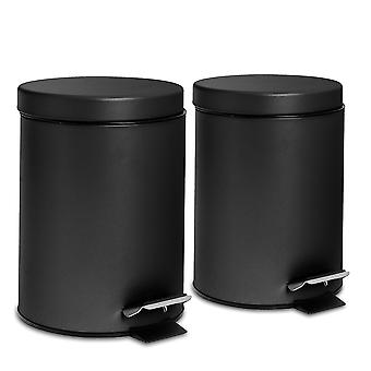 2 Piece 3 Litre Bathroom Pedal Bin With Inner Bucket - Matte Black