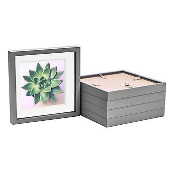 Nicola Spring 5 Piece 10 x 10 3D Shadow Box Photo Frame Set - Craft Display Picture Frame - Szklana przysłona - Szary