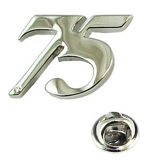 Ties Planet Numero 75, 75o Compleanno Lapel Pin Badge Con Cristallo - Rhodium Plated