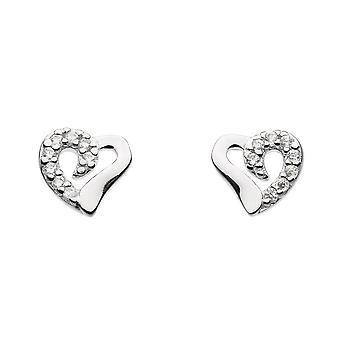 Dauw Sterling zilveren halve Cubic Zirconia hart hengsten 3732CZ021