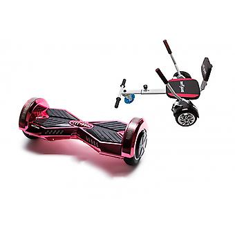 Package Smart Balance™ Hoverboard 8 Inch, Transformers Electropink + Hoverseat With Sponge, Motor 700 Wat, Bluetooth, Led