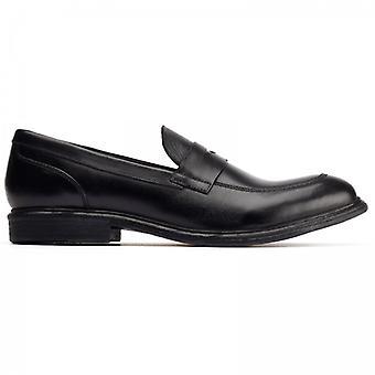 Base London Scoria Mens Leather Loafers Black