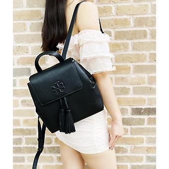 Tory burch thea mini backpack tassels pebbled leather black
