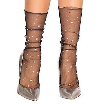Mesh stockings with Stars - Black