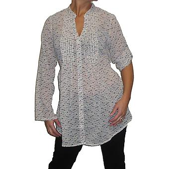 Women's Chiffon Long Sleeve Shirt Ladies Loose Print Button-Down Casual Tunic Tops Blouse Winter White Size 12