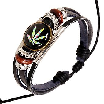 Punk Multilayer  Bracelets Wooden Beads Maple Leaf Bracelet for Men