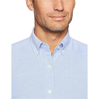 Essentials Men's Regular-Fit Long-Sleeve Solid Oxford Camicia, Blu, XX-...