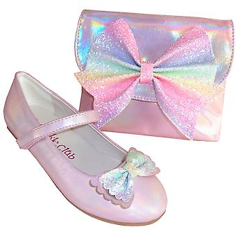 Pale pink sparkly ballerina party shoes and matching bag