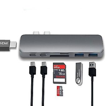 usb-c dock til hdmi thunderbolt adapter hub med pd strøm, Tf Sd kortleser