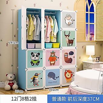 Children's  Cloth Assembled Simple Cartoon Wardrobe, Multi-purpose Plastic